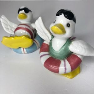 VIntage 1990s Ceramic Geese Ready For A Swim